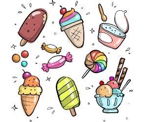Vom Eis bis hin zum Bonbon alles Süsses findest auf dem Bild